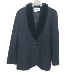 OLEG CASSINI 100% WOOL JACKET BLACK ELEGANT  M